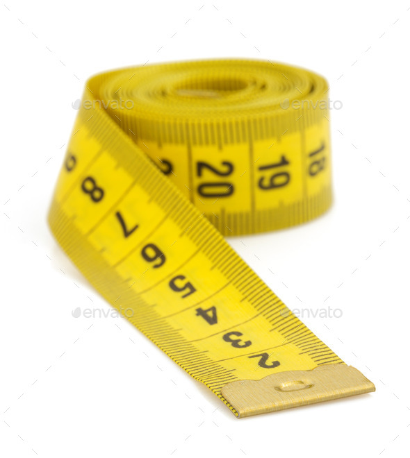 yellow measuring tape isolated on white - Stock Photo - Images