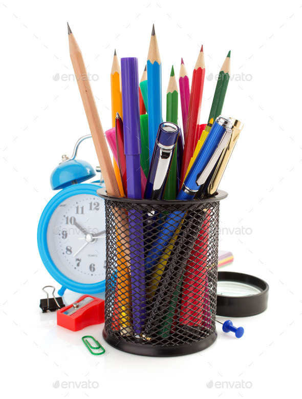 holder basket and office supplies - Stock Photo - Images