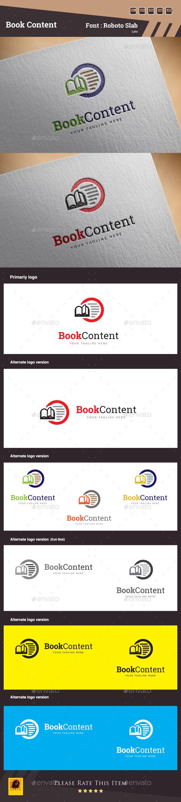 Book Content Logo Template - Symbols Logo Templates