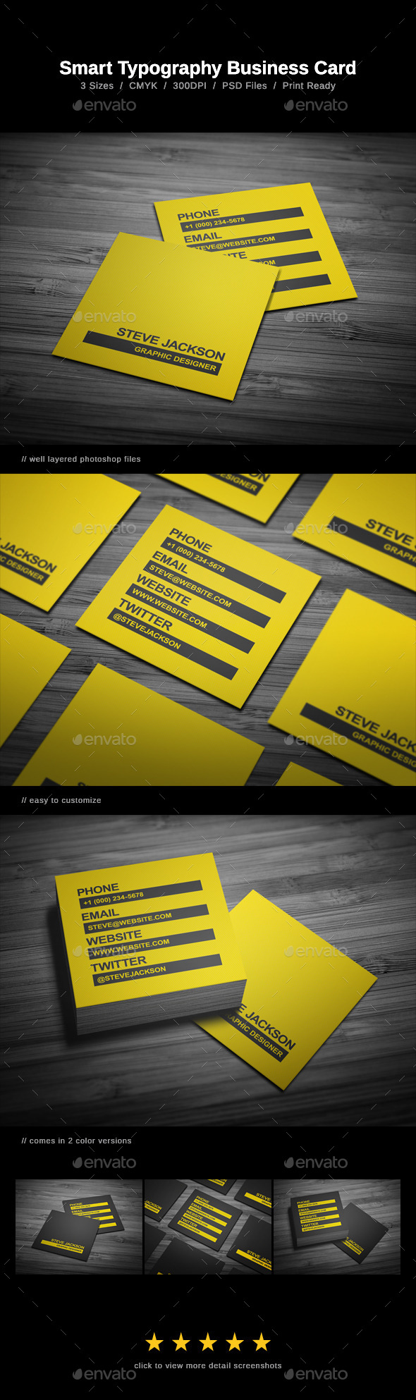 Smart Typography Business Card - Creative Business Cards