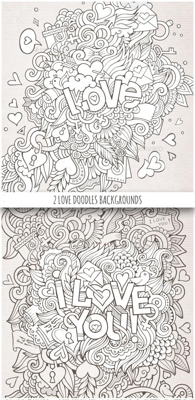 2 Love Doodles Backgrounds - Valentines Seasons/Holidays