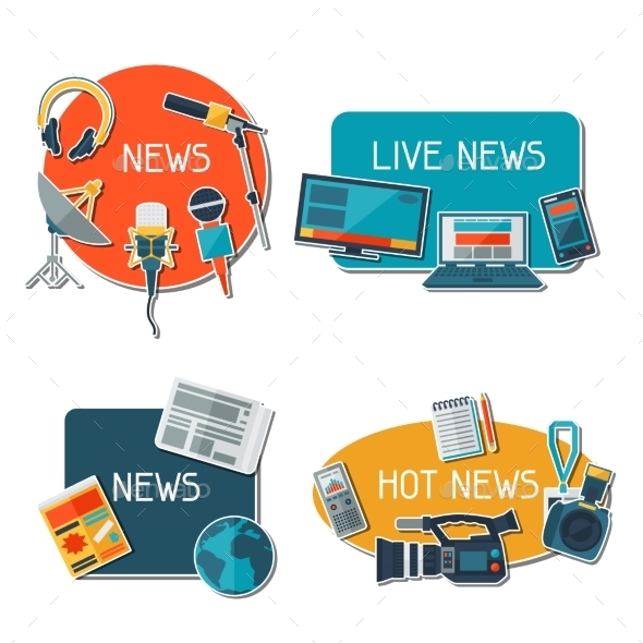 Stickers with Journalism Icons - Communications Technology