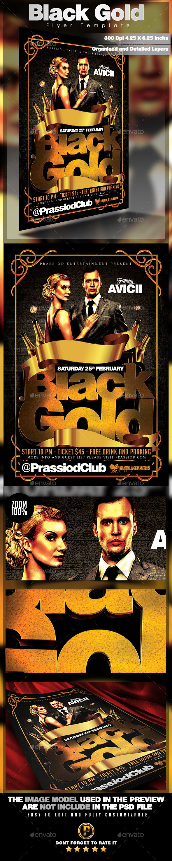 Black Gold Flyer Template - Clubs & Parties Events