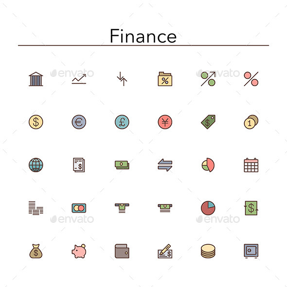 Finance Colored Line Icons - Business Icons