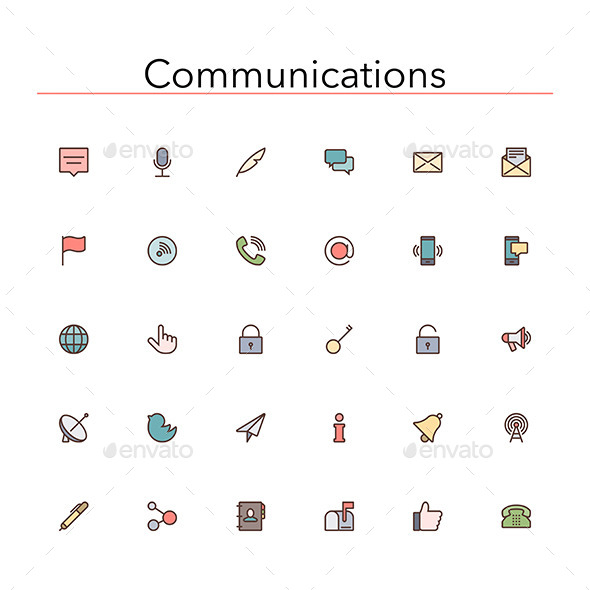 Communications Colored Line Icons - Media Icons