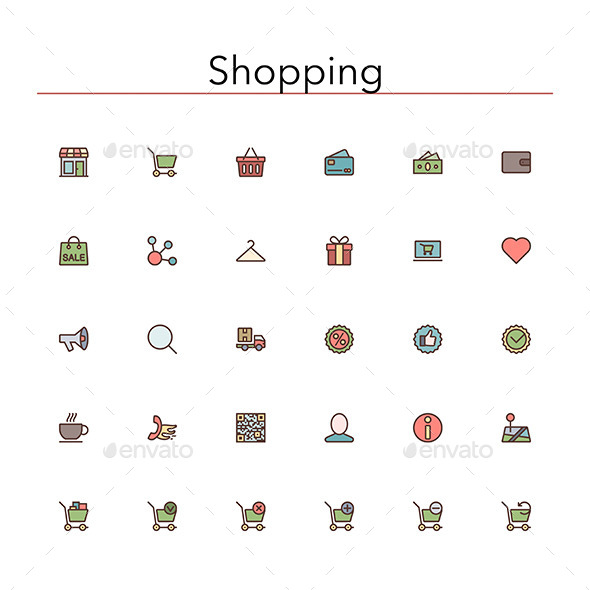 Shopping Colored Line Icons - Business Icons