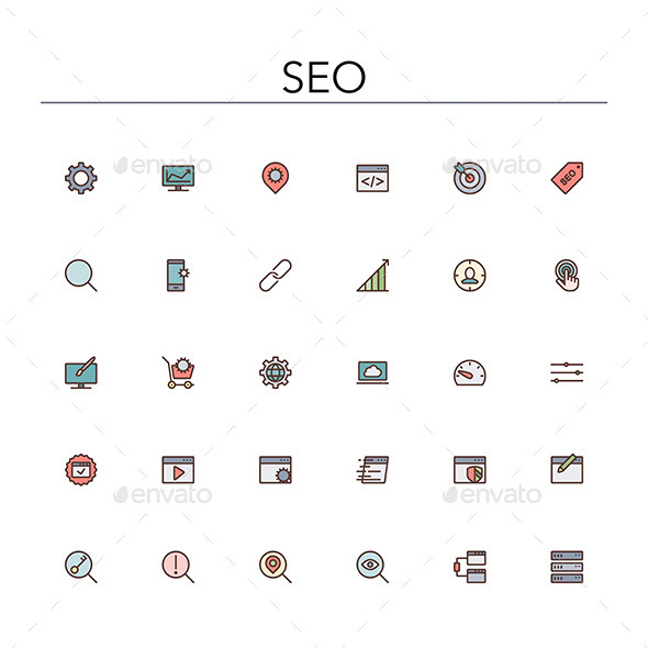 SEO Colored Line Icons - Software Icons