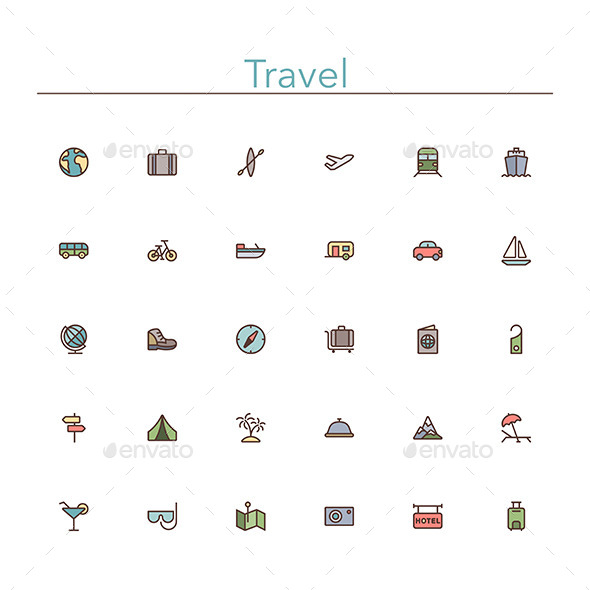 Travel Colored Line Icons - Business Icons