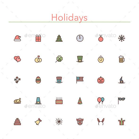 Holidays Colored Line Icons - Seasonal Icons