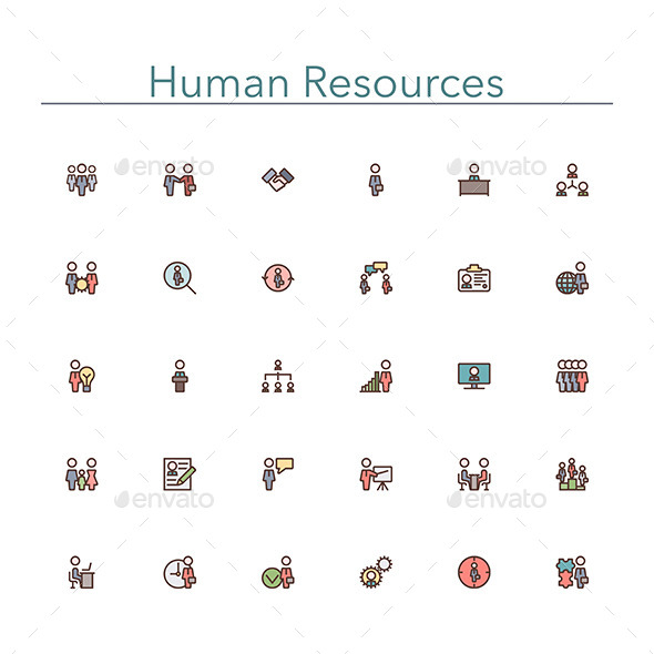 Human Resources Colored Line Icons - Business Icons