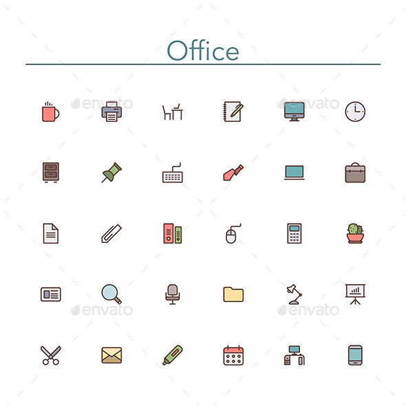 Office Colored Line Icons - Business Icons