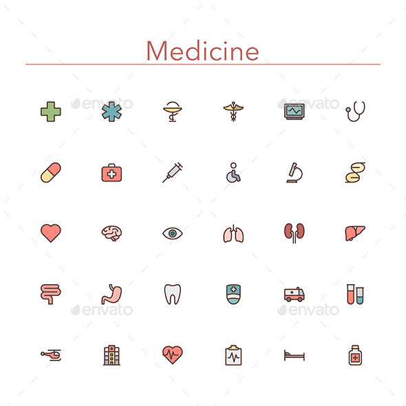 Medicine Colored Line Icons - Miscellaneous Icons