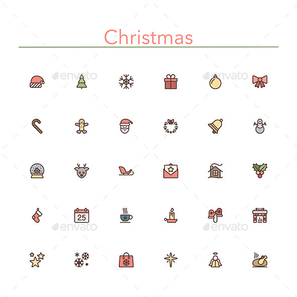 Christmas Colored Line Icons - Seasonal Icons