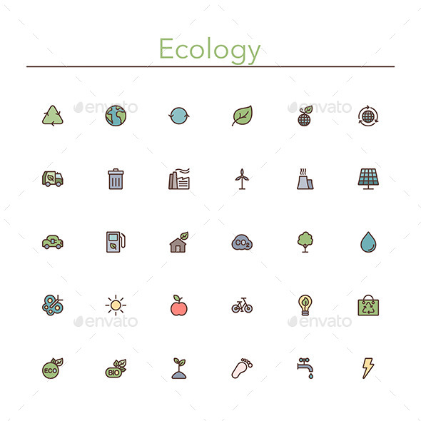 Ecology Colored Line Icons - Miscellaneous Icons