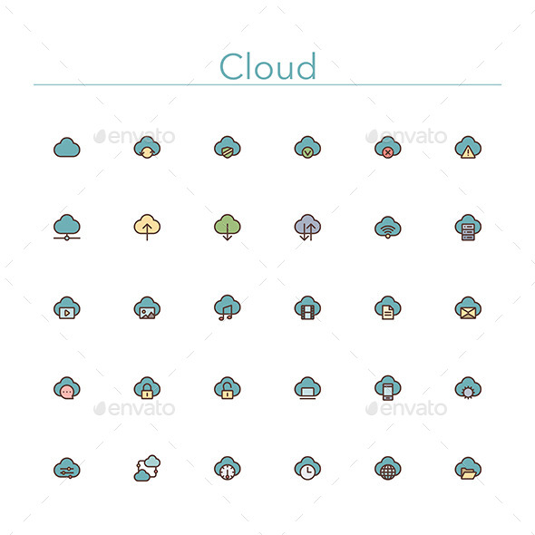 Cloud Colored Line Icons - Technology Icons