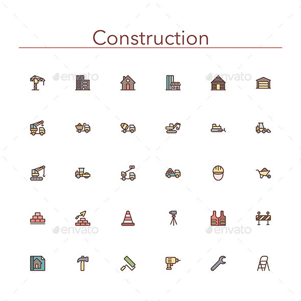 Construction Colored Line Icons - Buildings Objects