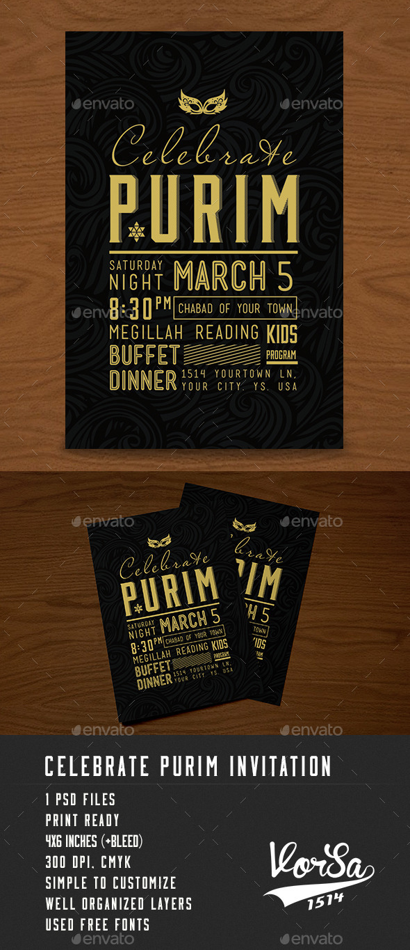 Celebrate Purim Invitation - Events Flyers