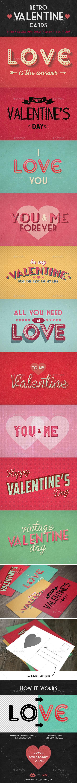 Retro Valentine Cards - Cards & Invites Print Templates
