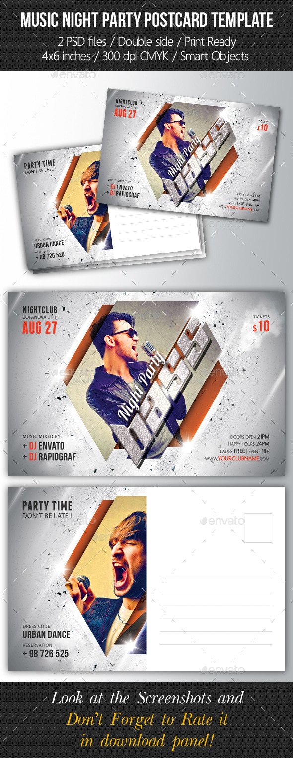 Music Night Party Postcard Template V02 - Cards & Invites Print Templates