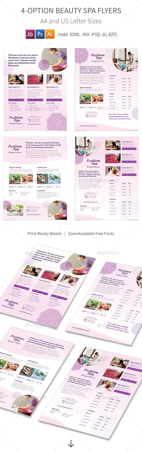 Beauty Spa Flyers – 4 Options - Commerce Flyers