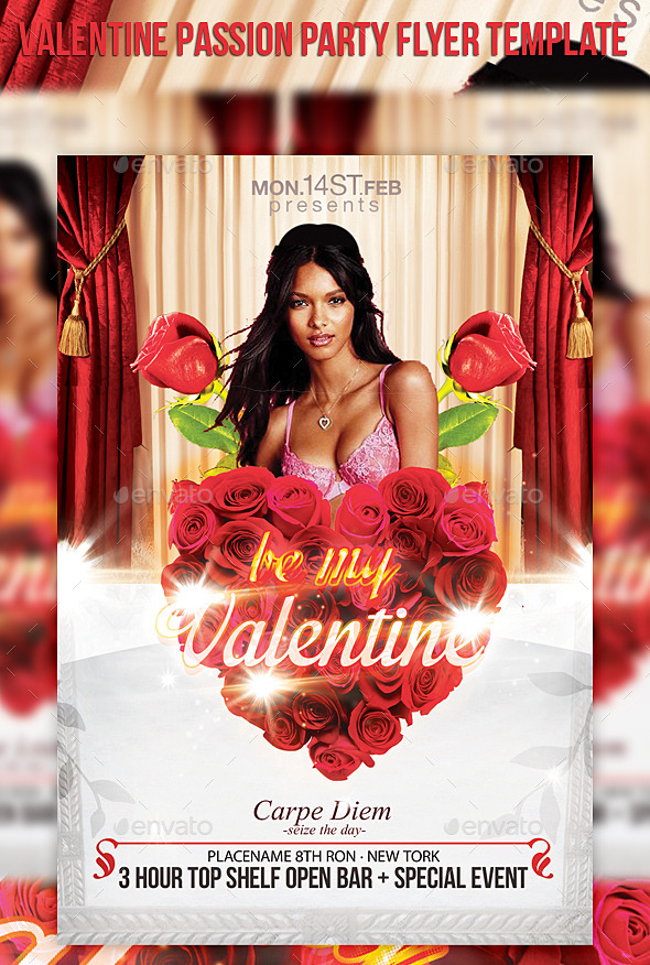 Valentine Passion Party Flyer Template - Events Flyers
