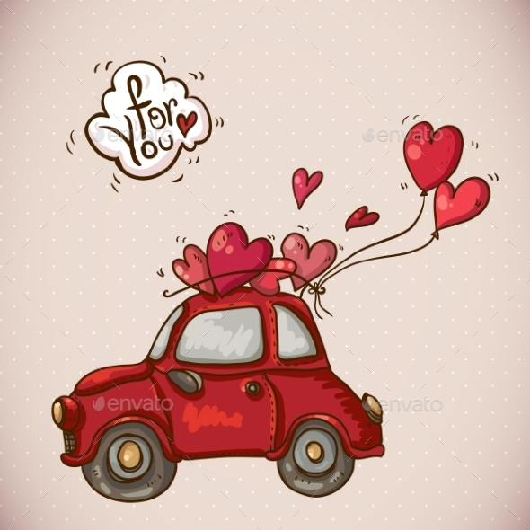 Doodle Card Valentines Day with Red Car - Patterns Decorative