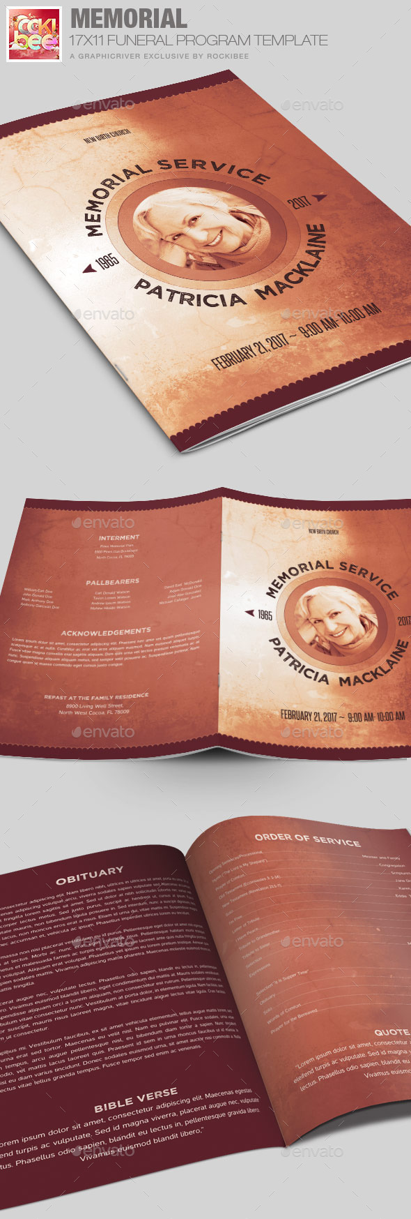 Memorial Funeral Program Template - Informational Brochures