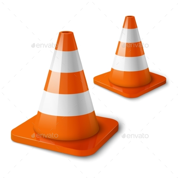Realistic Orange Road Cones with Stripes - Man-made Objects Objects