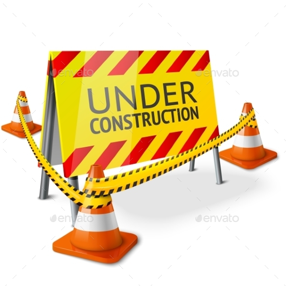 Bright Under Construction Sign - Man-made Objects Objects