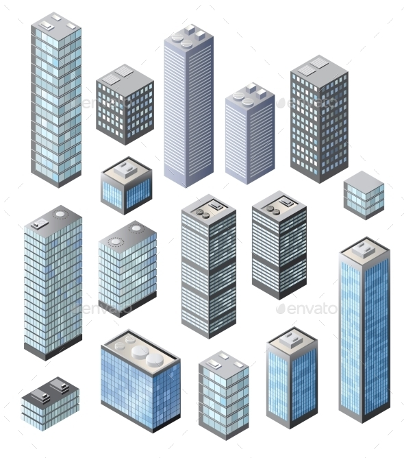Set of 3D Vector - Buildings Objects