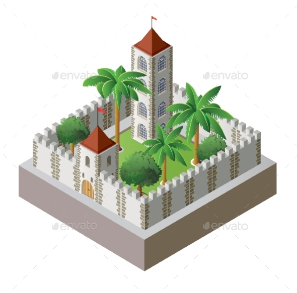 Isometric Fortress - Objects Vectors