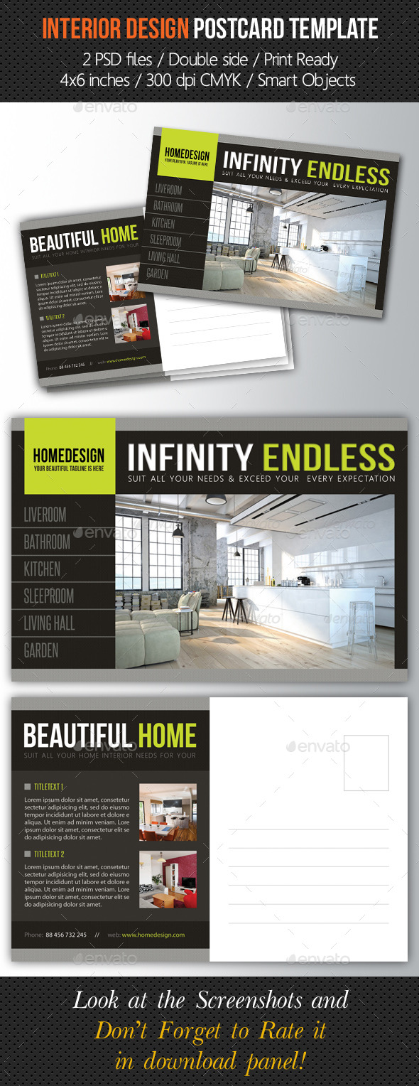 Interior Design Postcard Template V04 - Cards & Invites Print Templates