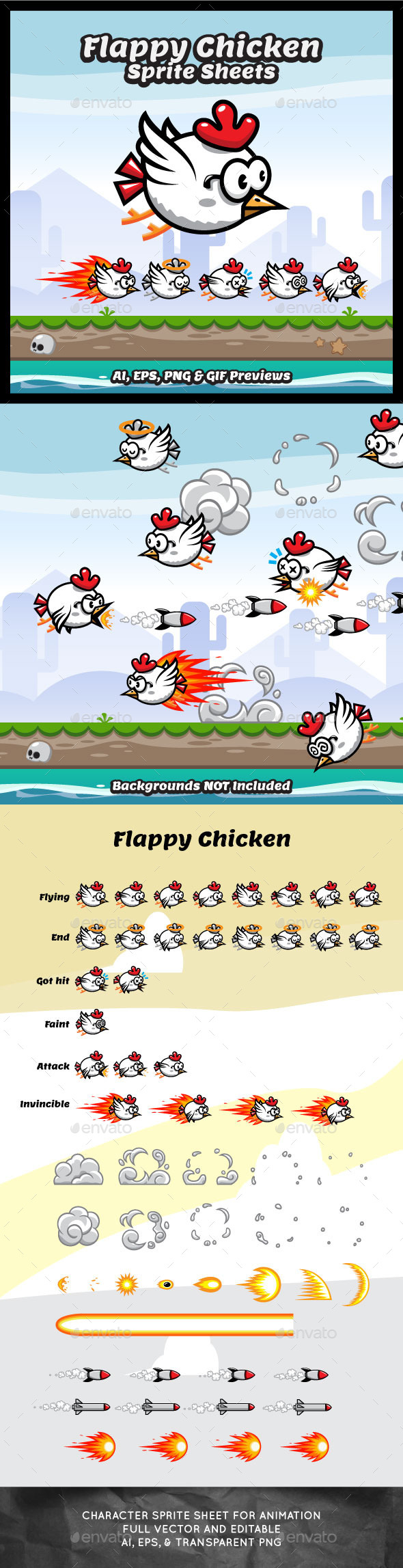 Game Sprite Sheets Flappy Chicken - Sprites Game Assets