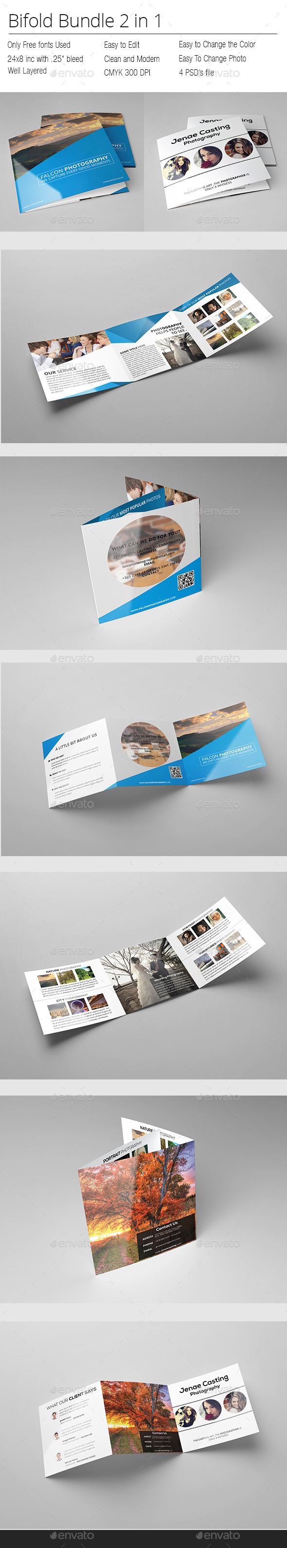 Photographer Square Bifold Bundle - Portfolio Brochures