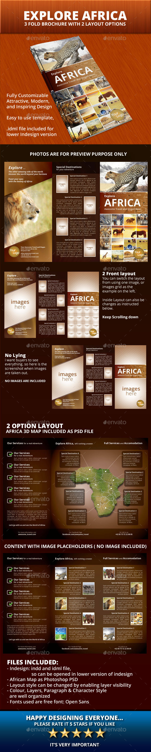 Explore Africa Trifold Brochure - Informational Brochures