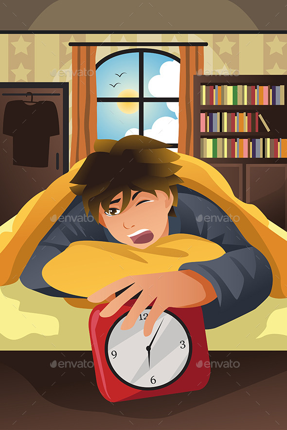 Sleeping Man Turning Off Alarm - People Characters
