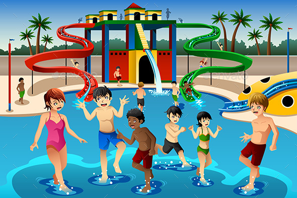 Kids Playing in a Waterpark - People Characters