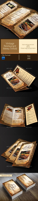 Vintage Restaurant Menu Trifold + Business Card - Food Menus Print Templates