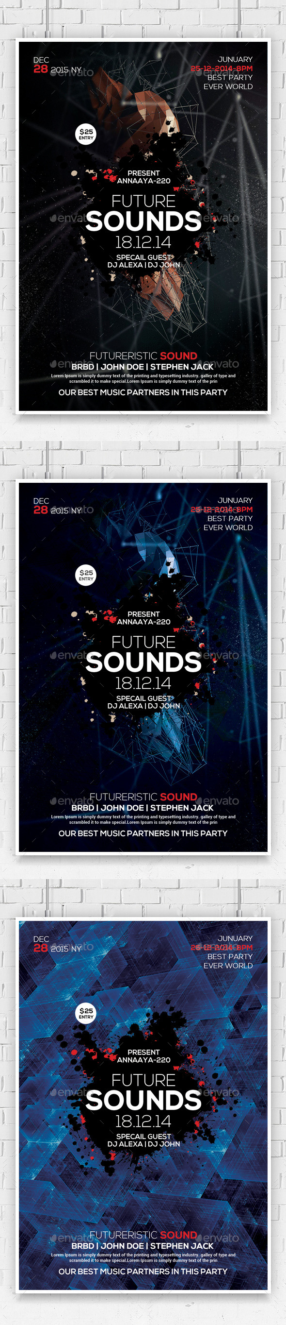 Minimal Abstract Flyer Templates  - Clubs & Parties Events