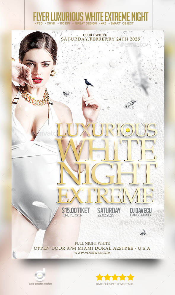 Flyer Luxurious White Extreme Night - Clubs & Parties Events