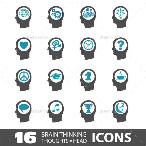 Thinking Head Icons - Concepts Business
