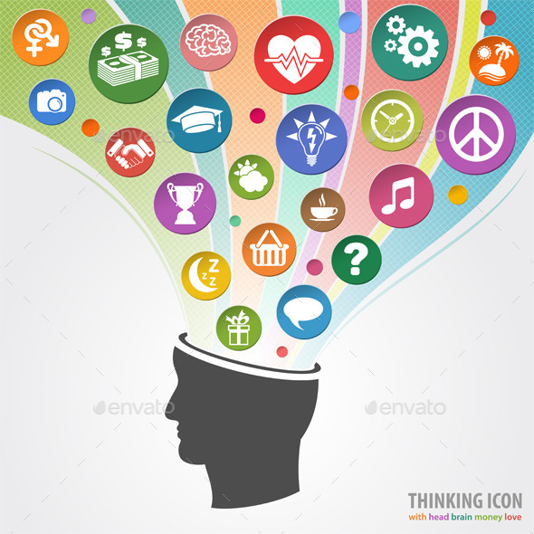 Thinking Head Icon - Concepts Business