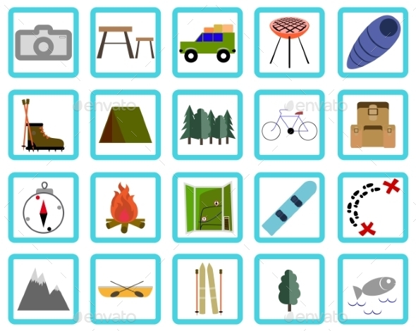 Vacation, Recreation & Travel, icons set - Travel Conceptual