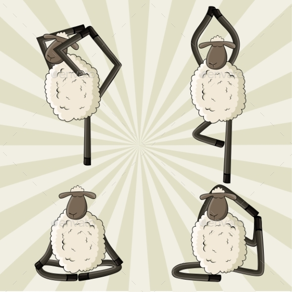 Yoga Sheep Standing in Different Poses - Sports/Activity Conceptual