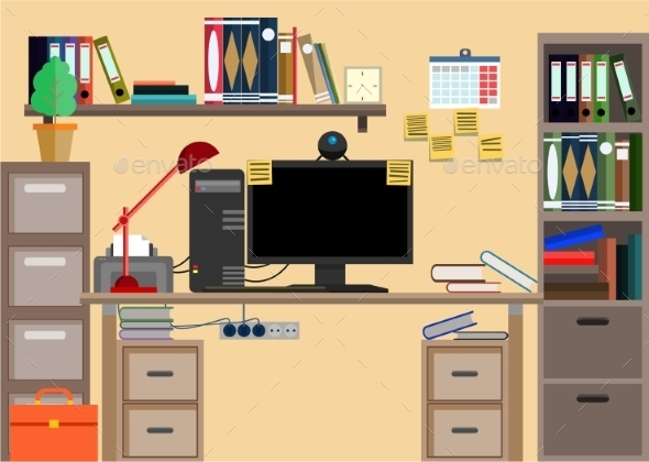 Business Workplace with Office Things  - Computers Technology