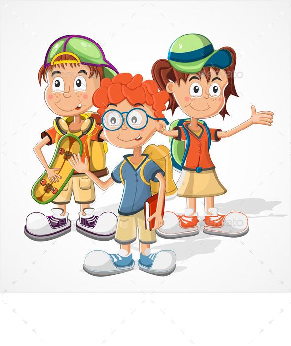 Schoolchildren  Vector - People Characters