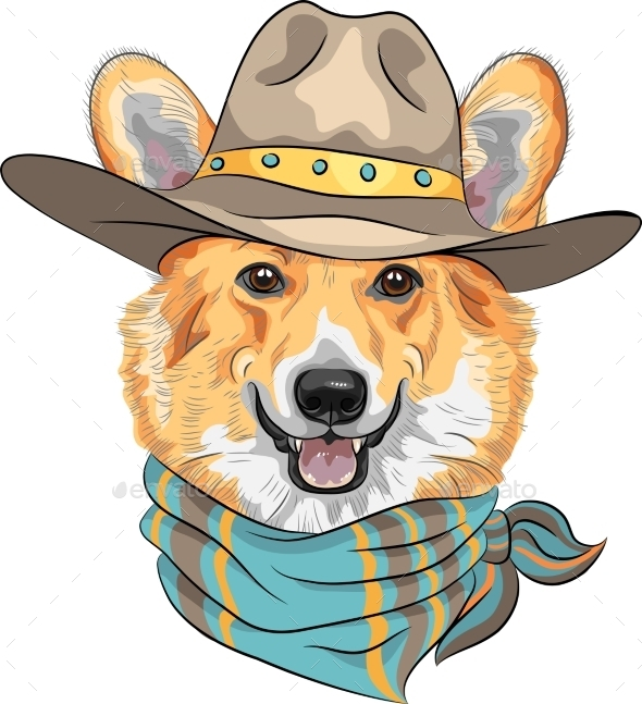 Hipster Dog Pembroke Welsh Corgi  - Animals Characters