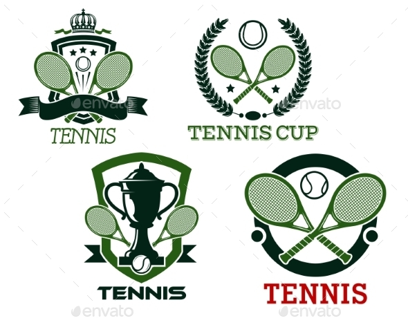 Tennis Icons and Symbols - Sports/Activity Conceptual