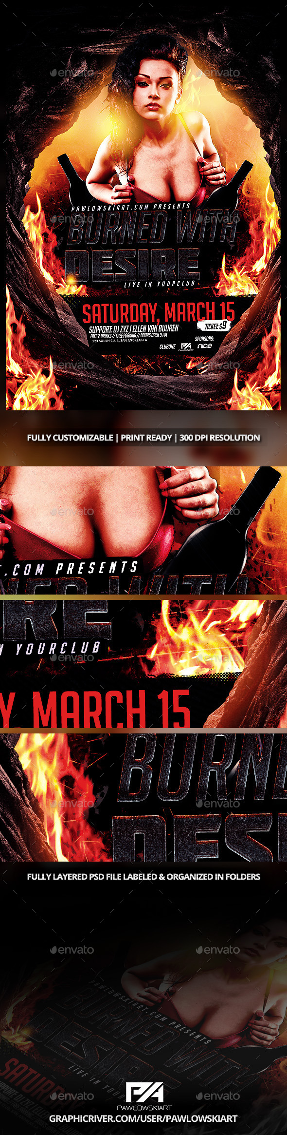 Burned With Desire Event Flyer Template PSD - Events Flyers
