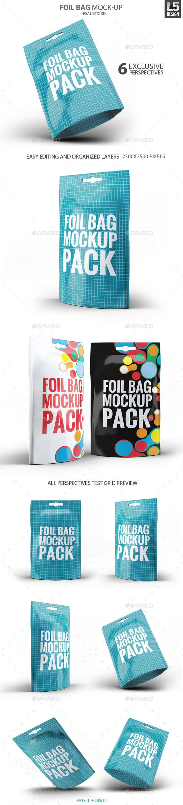 Foil Bag Pack Mock-up - Food and Drink Packaging